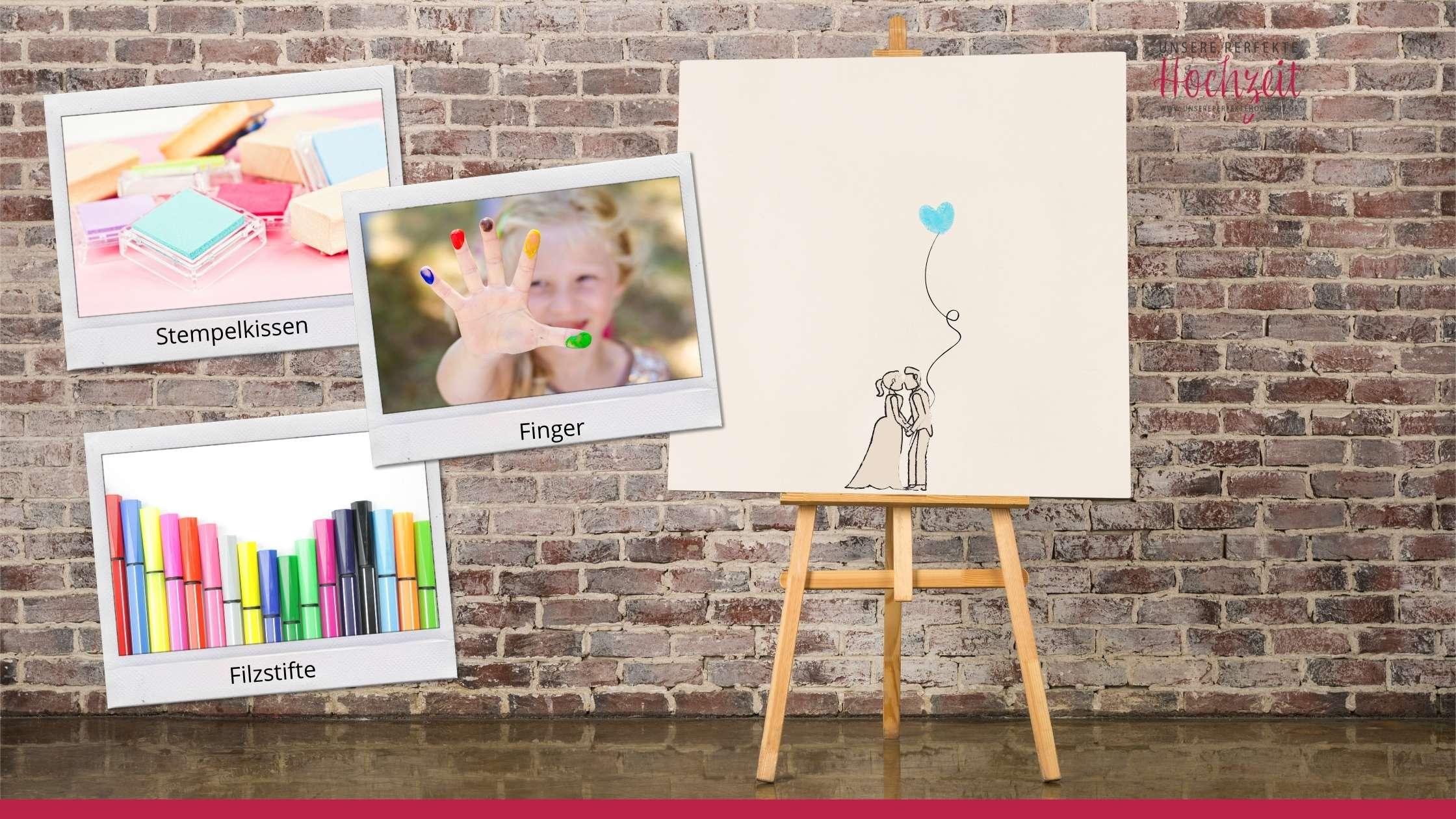Unsere perfekte Hochzeit - Die 5 schönsten Gästebuch Ideen - Fingerabdruck-Bilder
