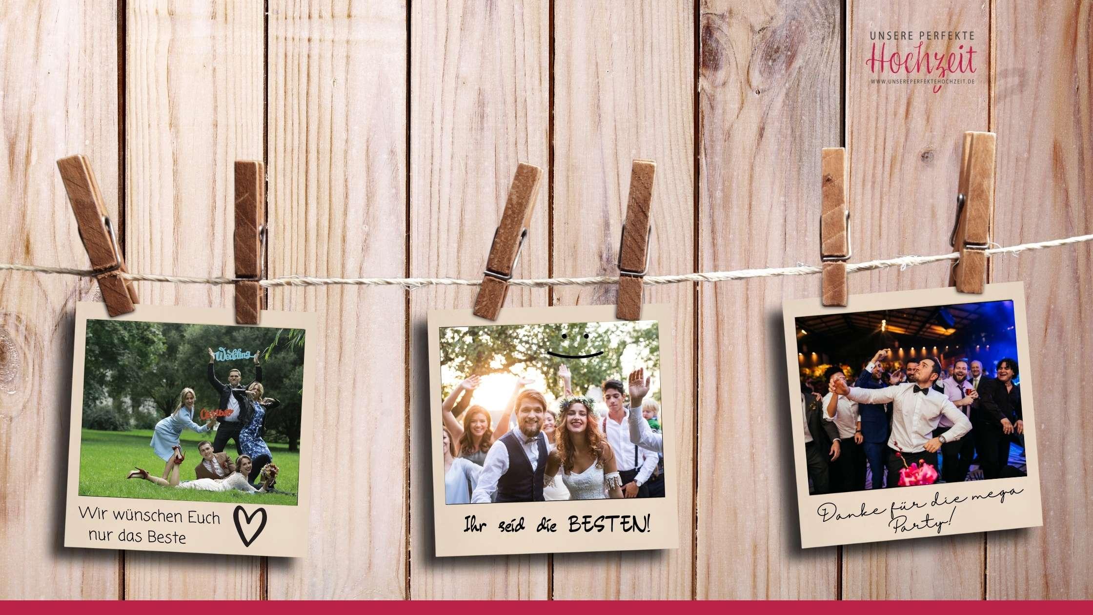 Unsere perfekte Hochzeit - Die 5 schönsten Gästebuch Ideen - Polaroid Fotos auf der Leine